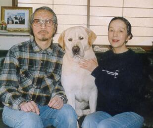 Tony with his foster parents in Japan